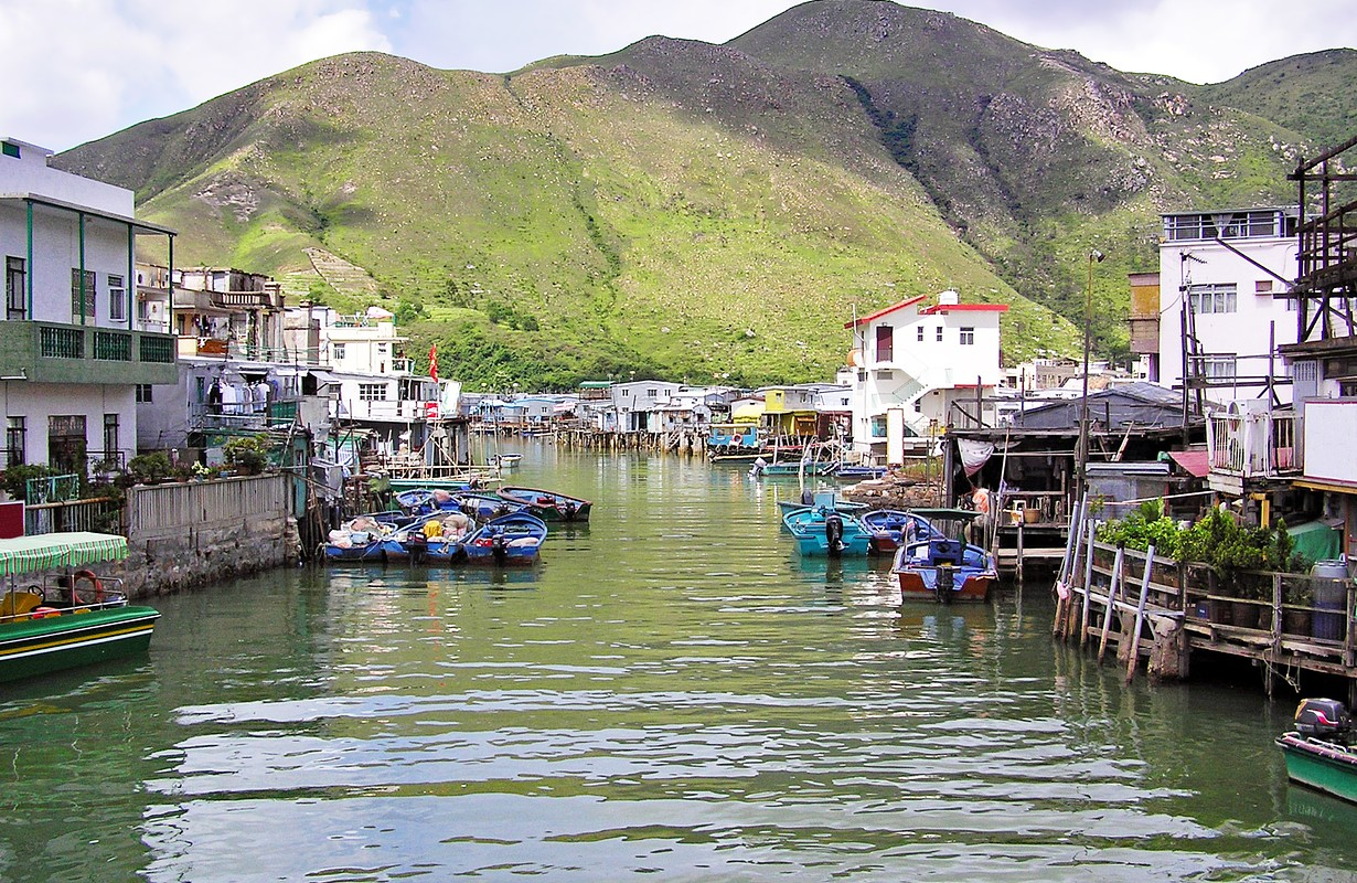 Houses on stilts along the canal in the fishing village Tai O in Hong Kong