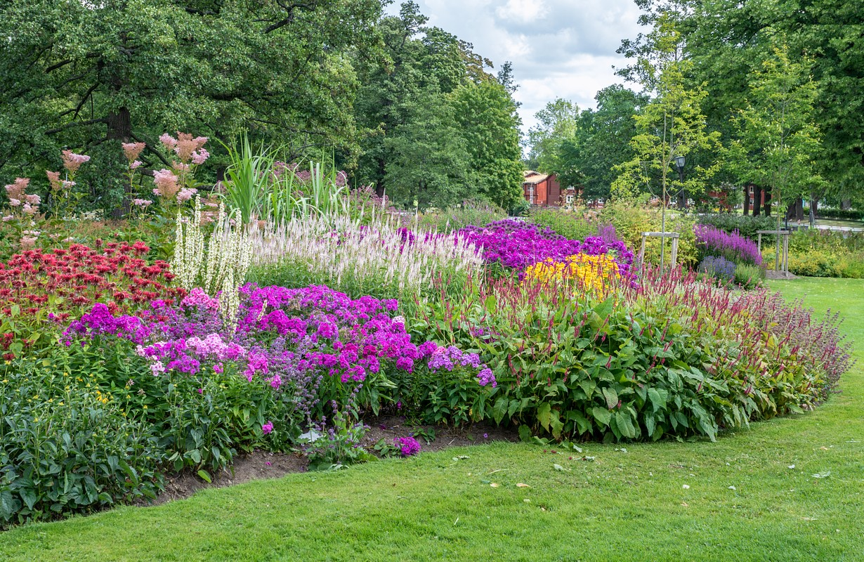 Beautiful and flourishing flower bed in a Swedish park in summer time