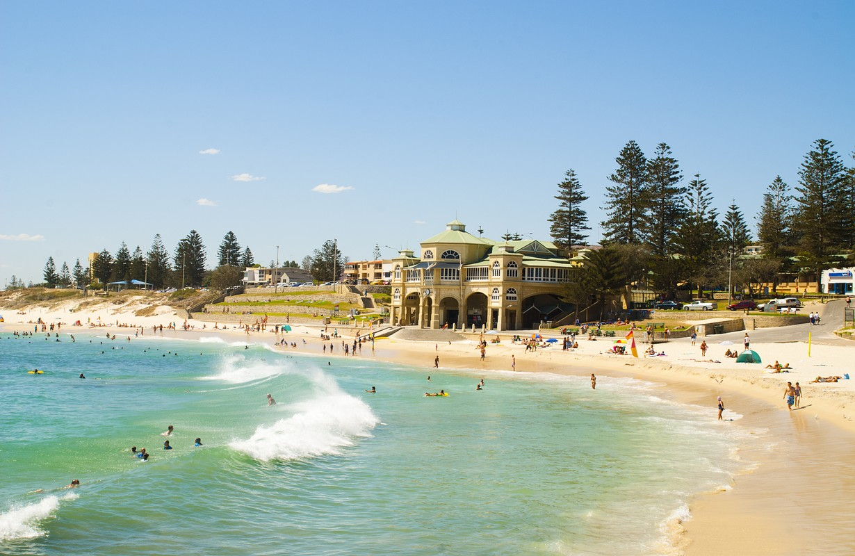 People enjoying Cottesloe Beach in Perth