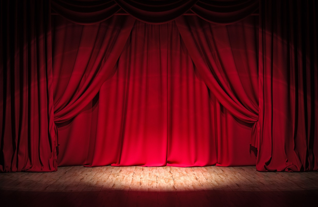 Theater stage red curtains Show Spotlight