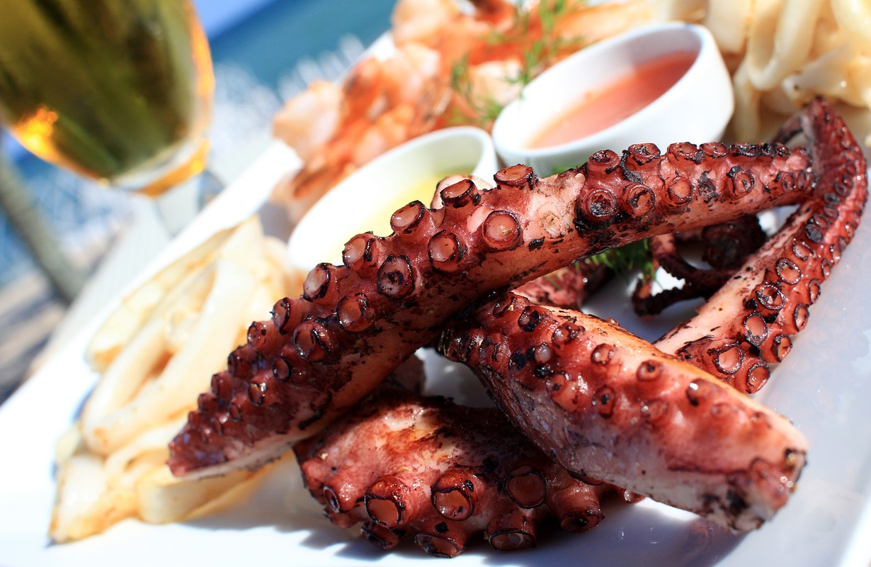 close up of cooked octopus