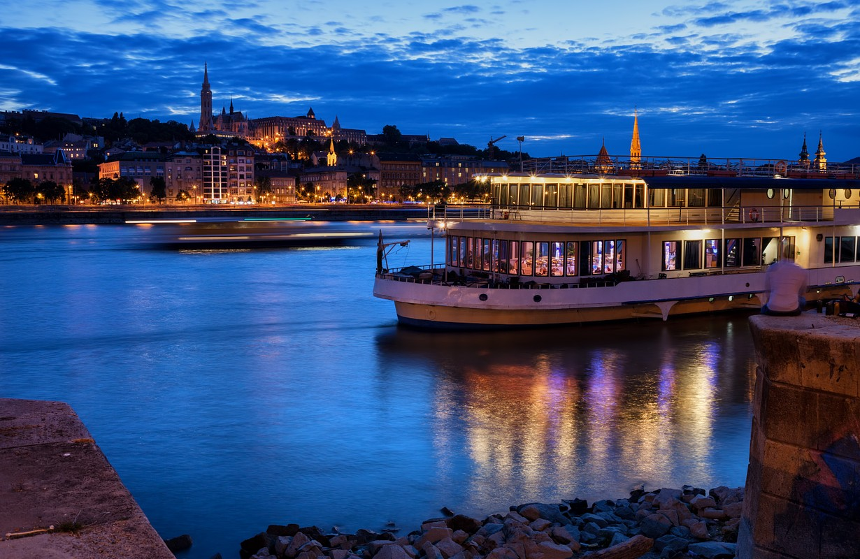 budapest river view with boat restaurant