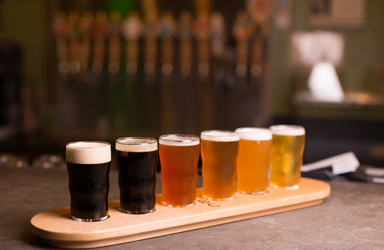 Close up of craft beer tasting flight