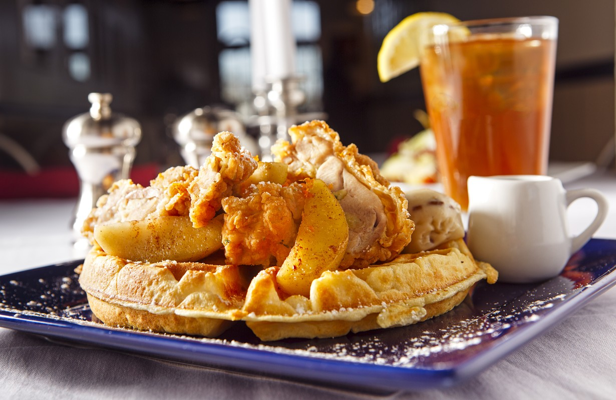 Southern breakfast: waffle, fried chicken and iced tea - Atlanta, Georgia