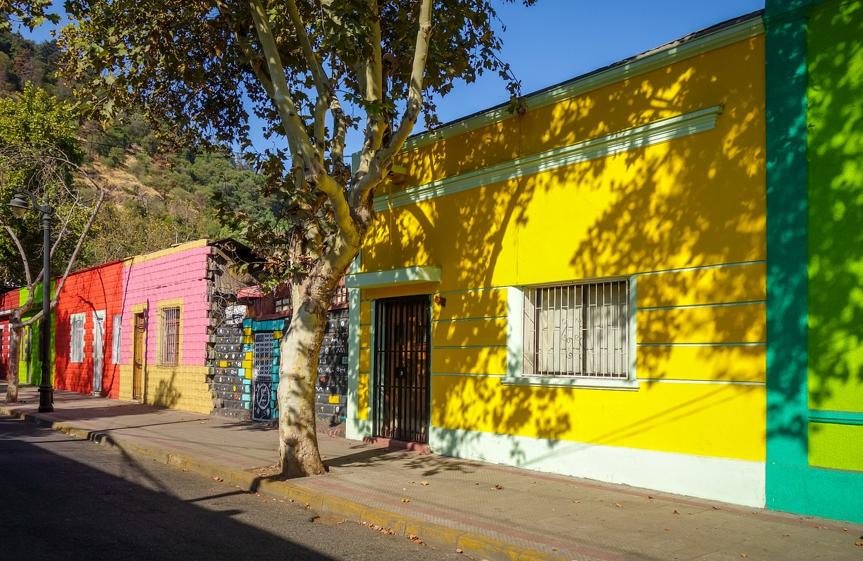 Colorful houses in Santiago city street, Chile - Image