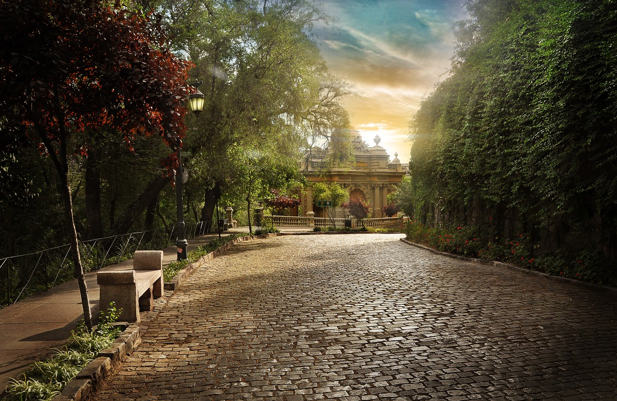 Chilean Parallelepiped Road. Cobbled street in a park in downtown Santiago. - Picture