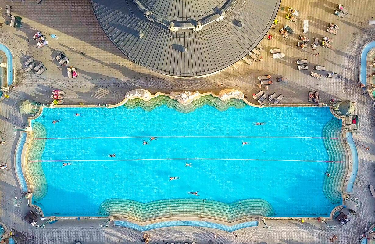 gellért bath budapest aerial view