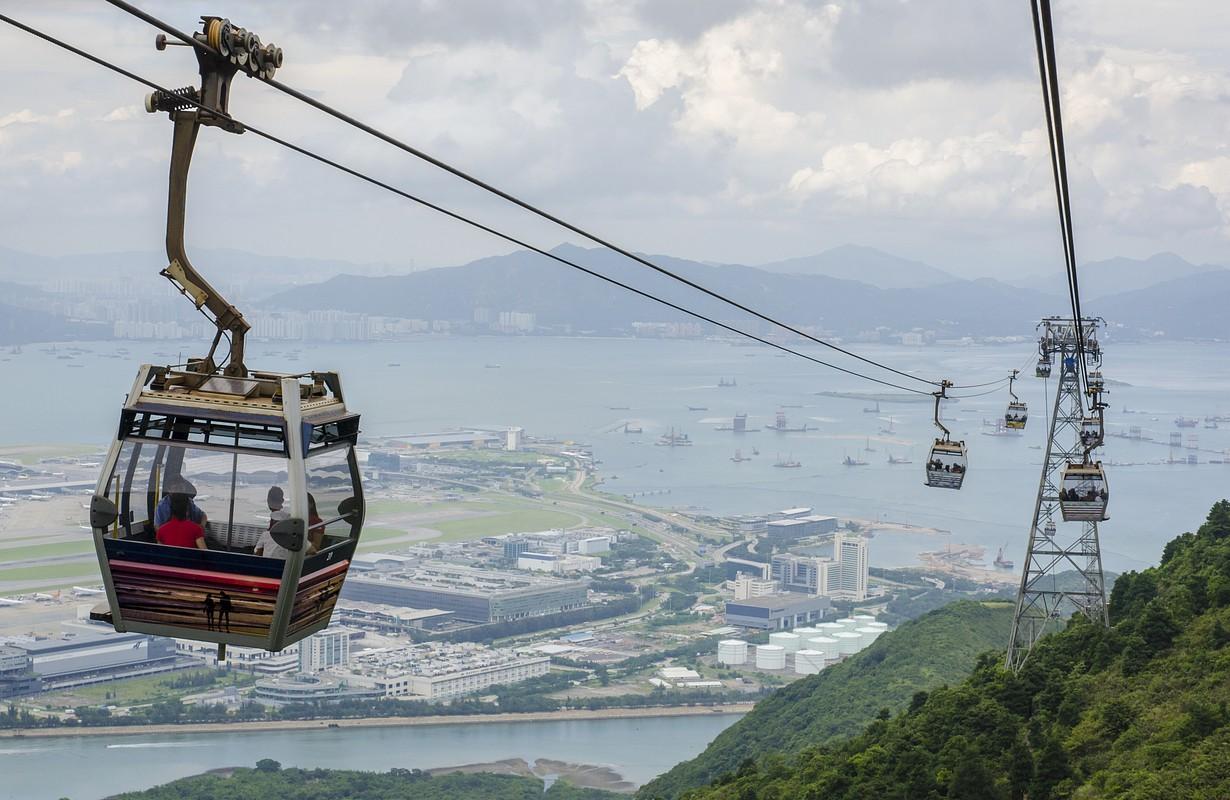 Cable Car at Ngong Ping at city view , Hong Kong