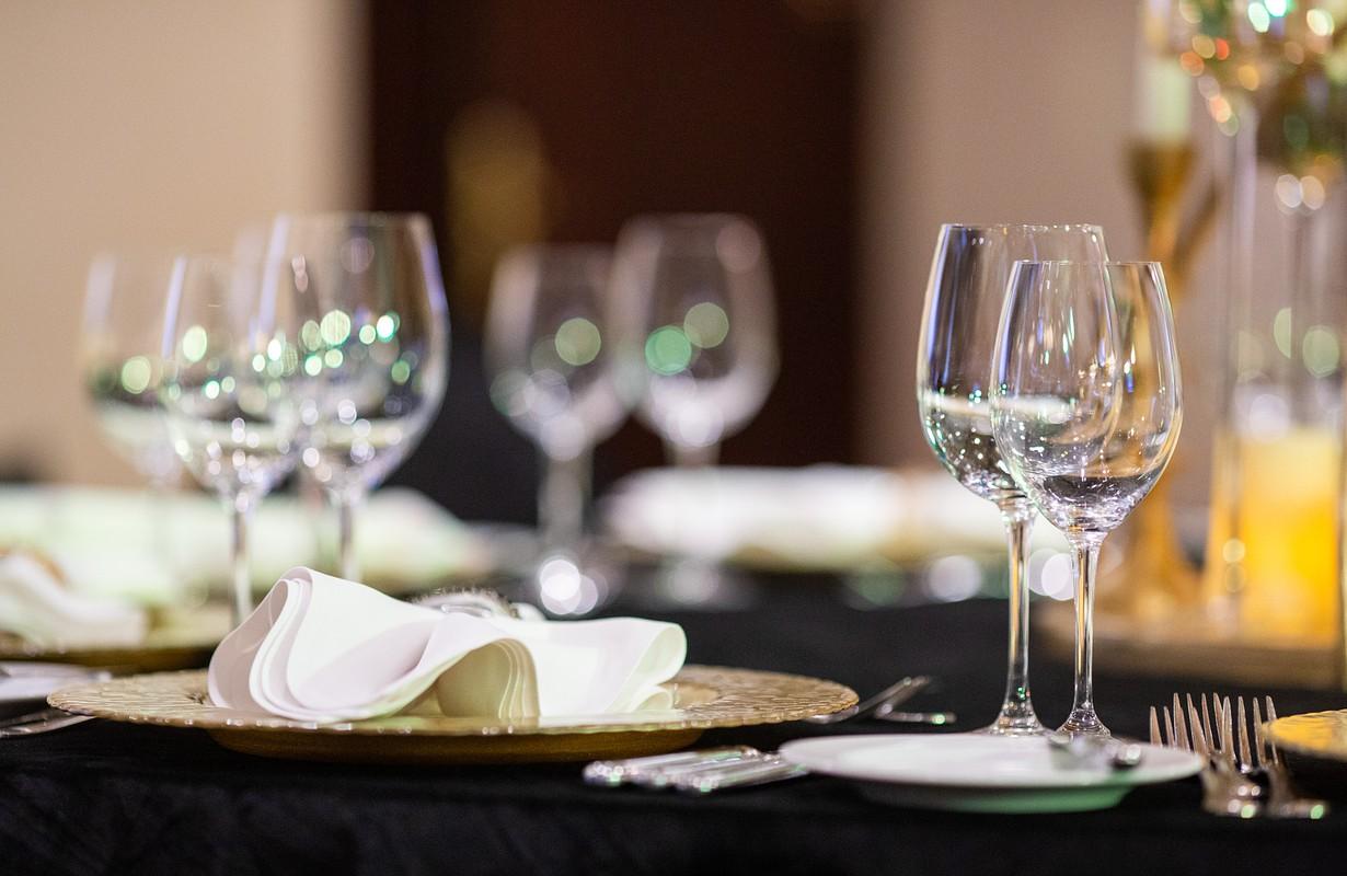 elegant fine restaurant interior with wine glasses