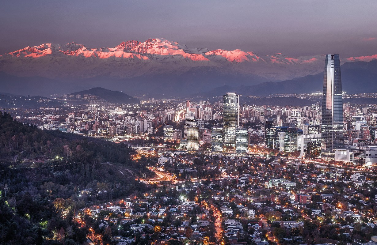 View of Santiago and Andes at Sunset from Cerro San Cristobal, Chile - Image