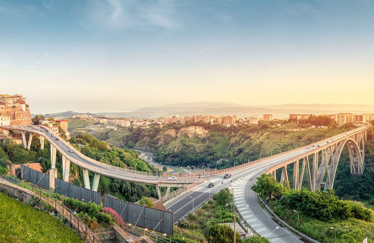 Panoramic view over Cantanzaro with Ponte Bisantis, Calabria, Italy