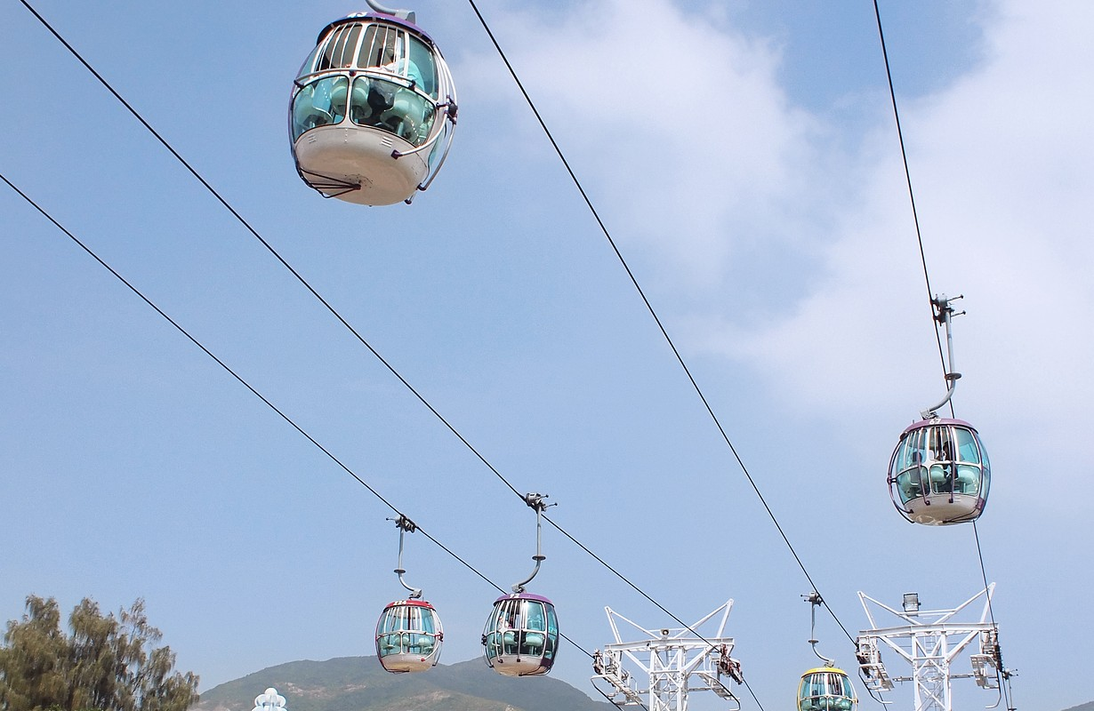 Cable car and cable car station in amusement park in Hong Kong