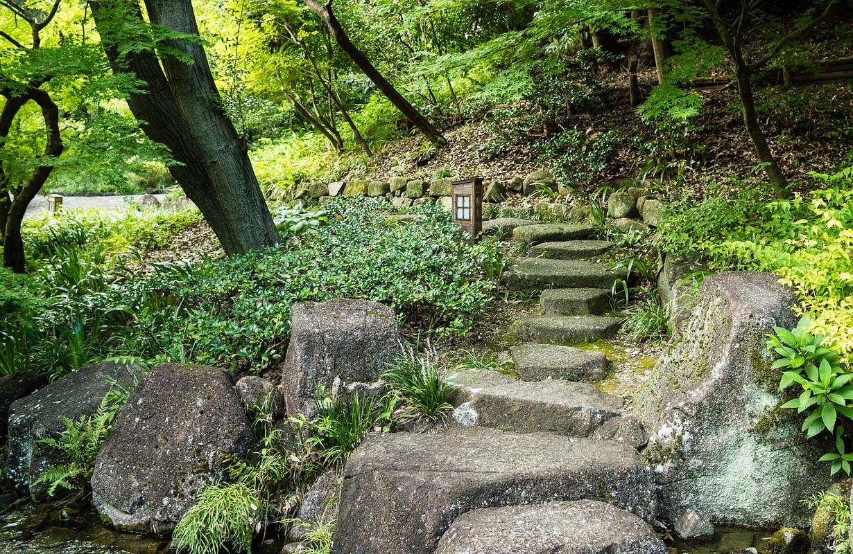 Stepping stones in Tokugawaen garden, Nagoya.