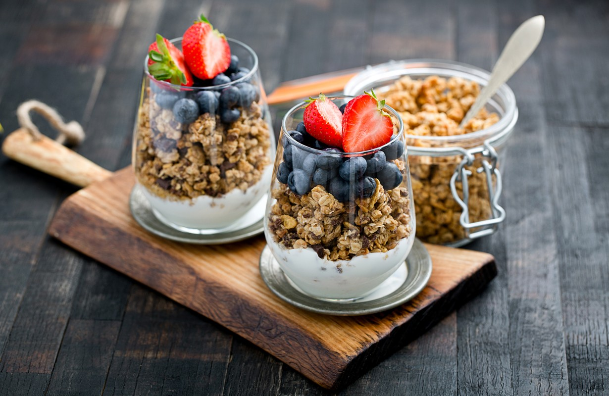 Delicious granola with fruits