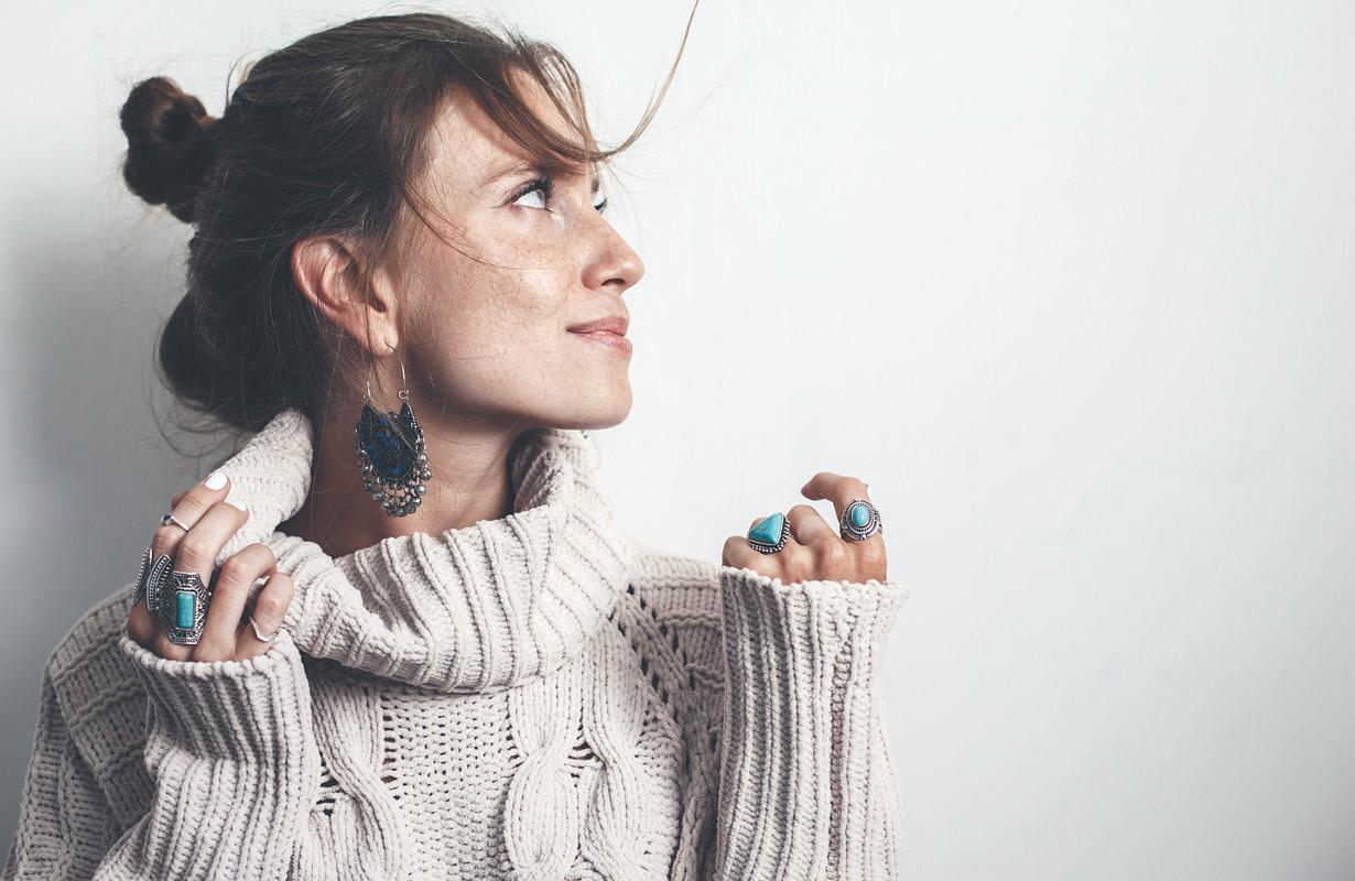 Woman modelling jewellery