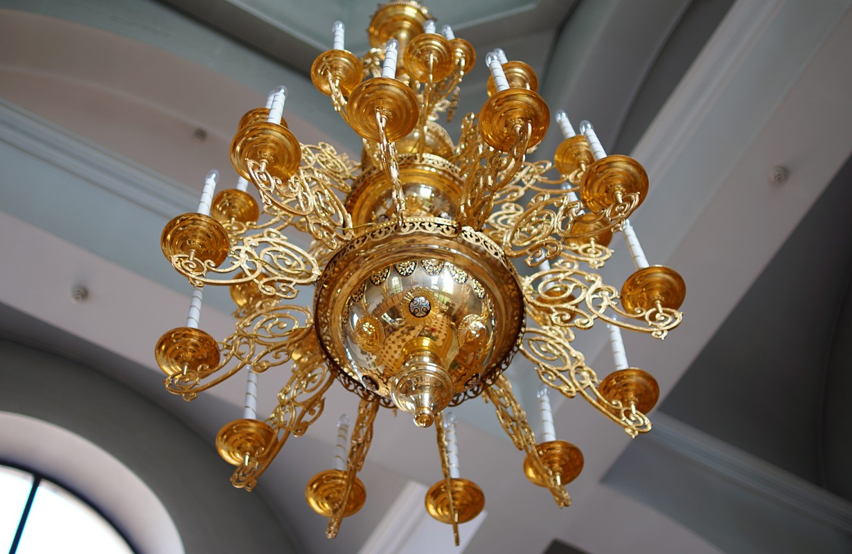 Gold Chandelier in the Church