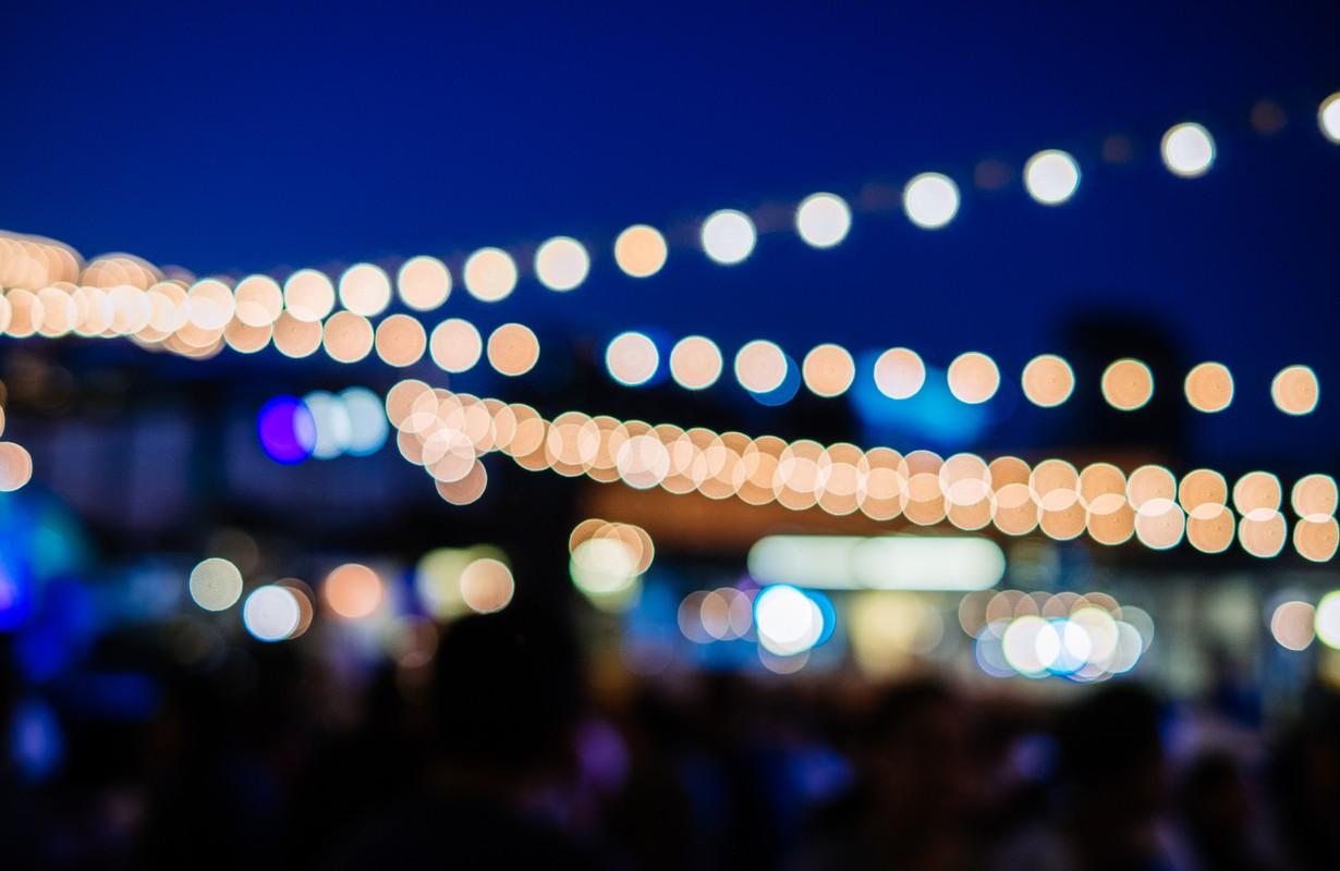 bokeh lights at night bar