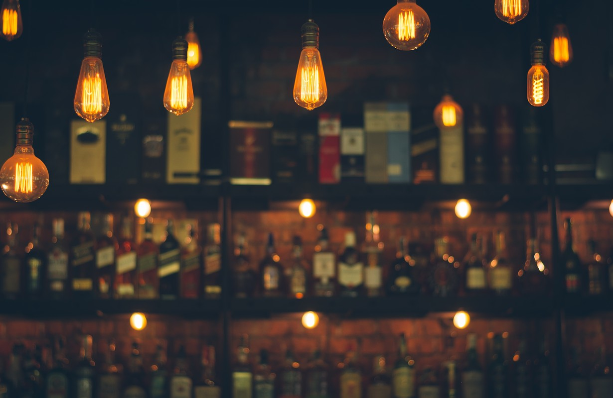 Picture of vintage lamps with blurred liquor bar - Atlanta, Georgia