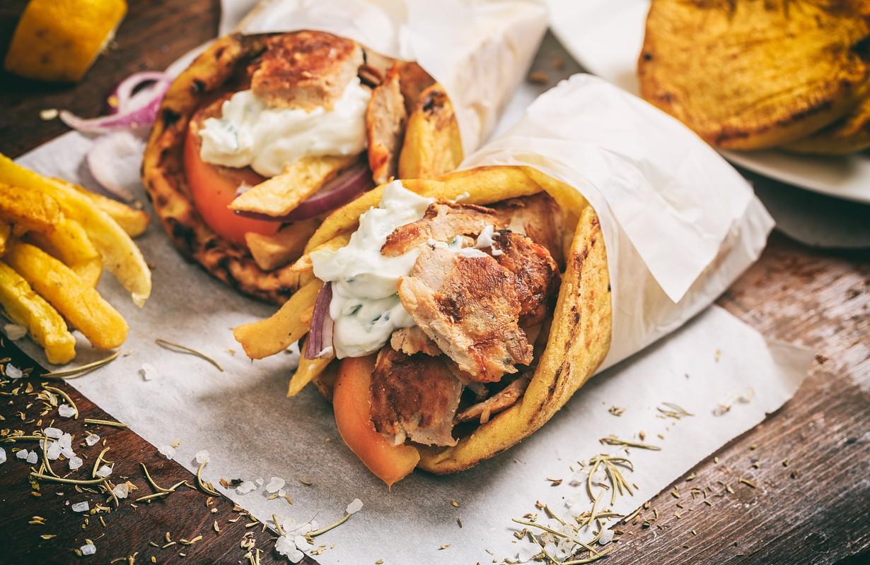 Gyros souvlaki wrapped in a pita bread - Greek restaurant in Houston, Texas