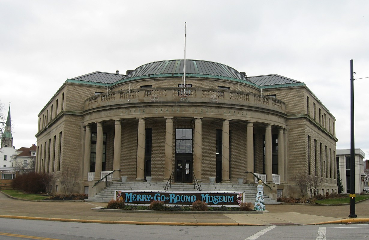 Front of the former Sandusky Post Office (now the Merry-Go-Round Museum), located at 301 Jackson Street in Sandusky, Ohio