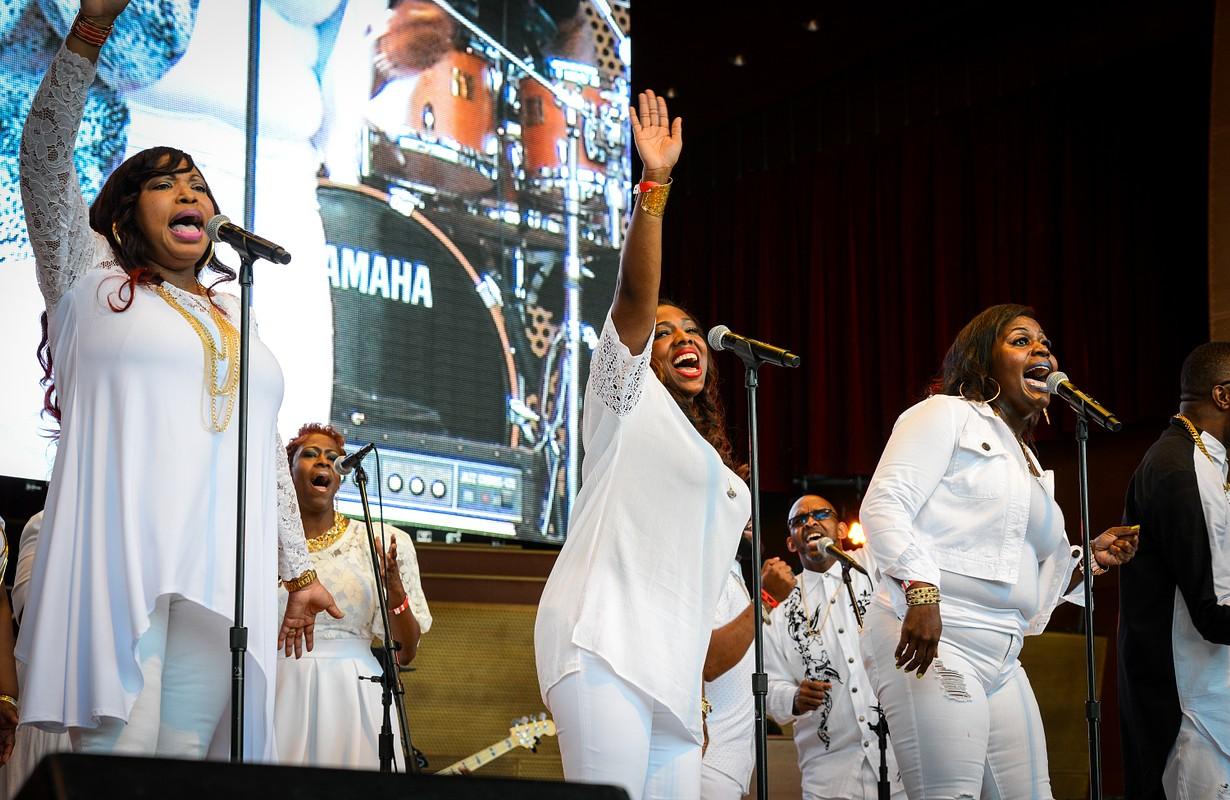 Gospel performers on stage