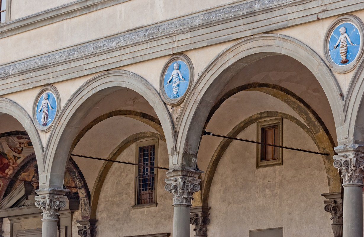 Hospital of the Innocents, loggia detail, Florence, Italy