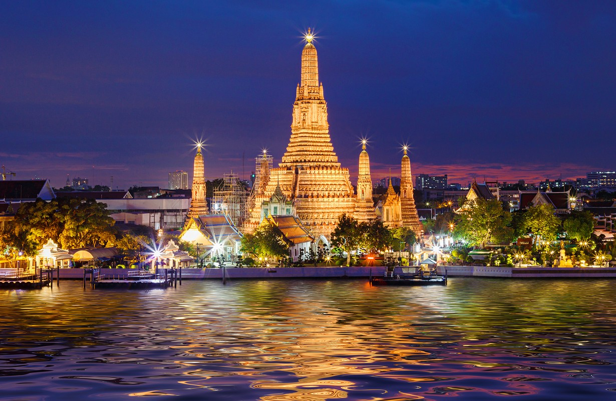 Wat Arun Temple at twilight in Bangkok, Thailand.