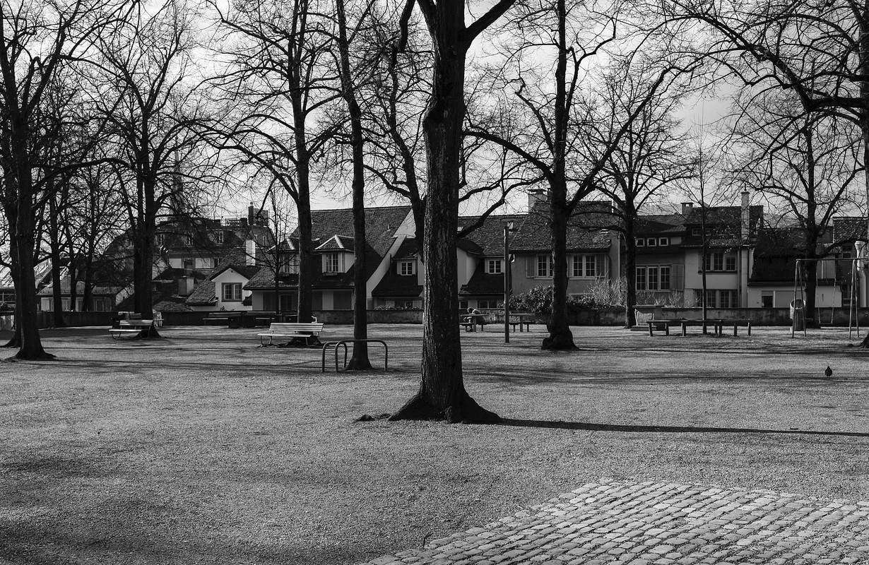 The park in the center of Zurich, Lindenhofplatz, Switzerland