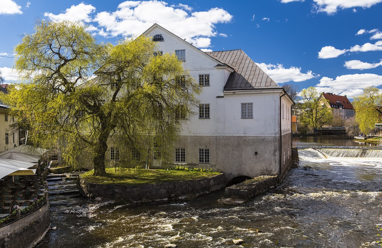 The river Fyris and the Uppland museum In the building of an old mill in Uppsala. Sweden