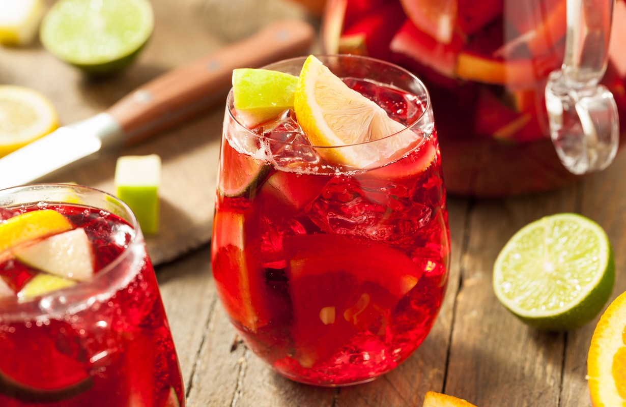 Homemade Fruity Spanish Red Sangria with Apples and Citrus