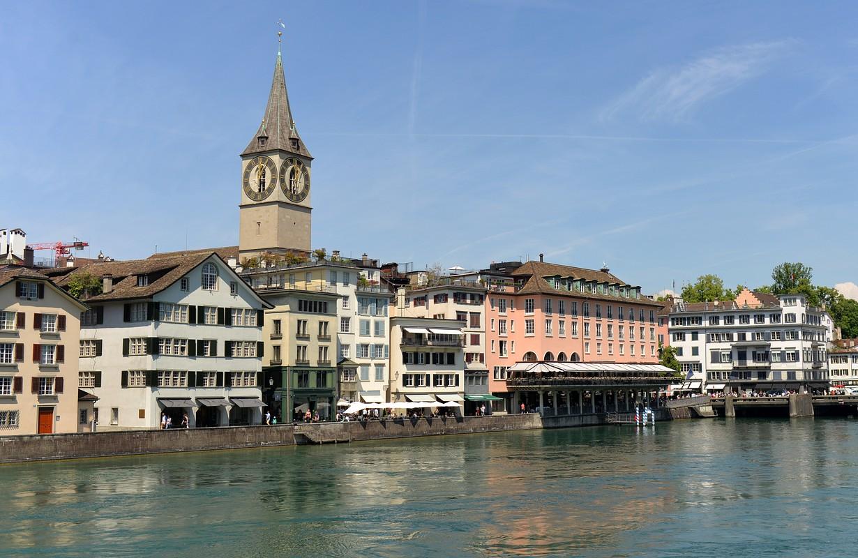 Zurich cityscape with St. Peter Church, Switzerland