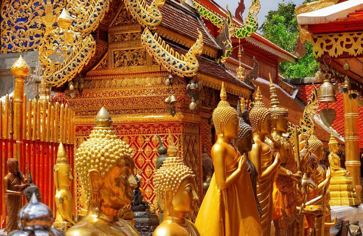 Gold face of Buddha statue in Doi Suthep temple, Chiang Mai