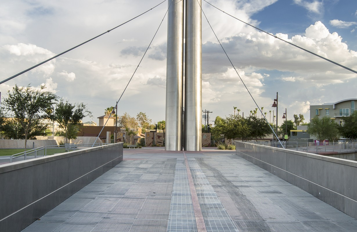 The Soleri Bridge over the Salt River Project Arizona Canal in the Waterfront District of downtown Scottsdale Arizona