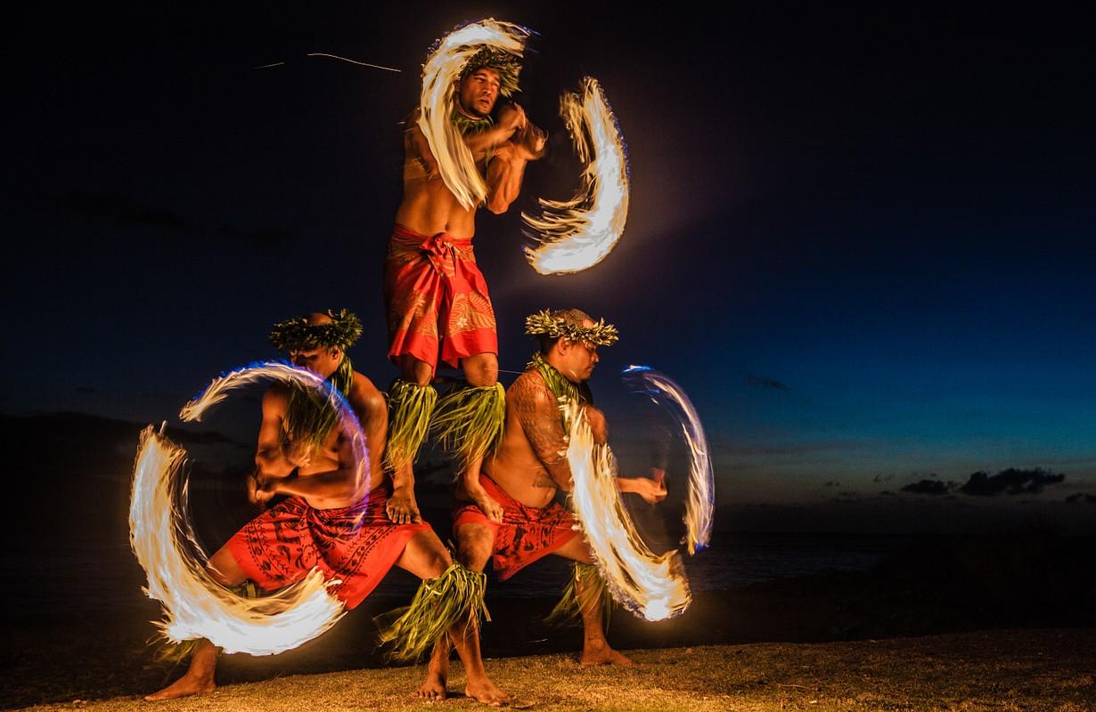 Men with fire art