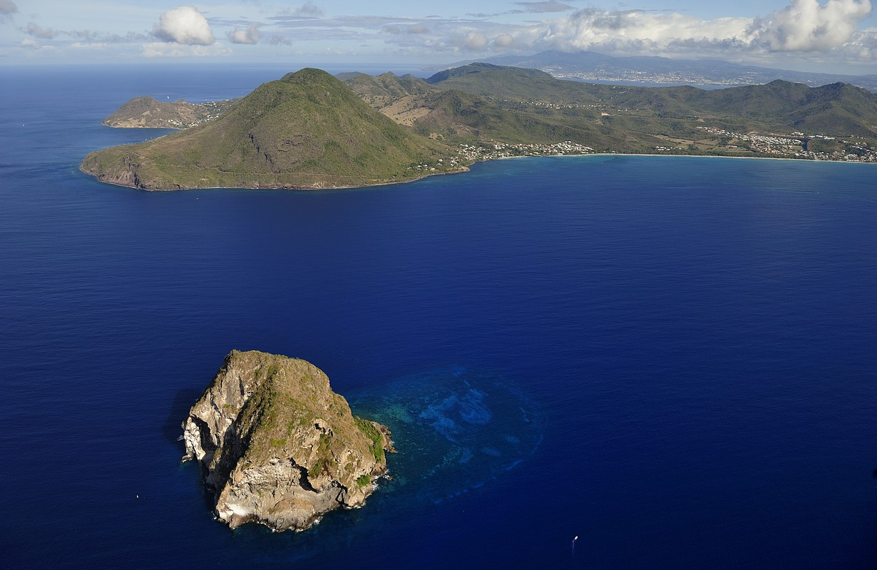 2011. Mar. The aerial view of Diamond Rock, the landmark of the island, and south west coast of Martinique, Caribbean Island