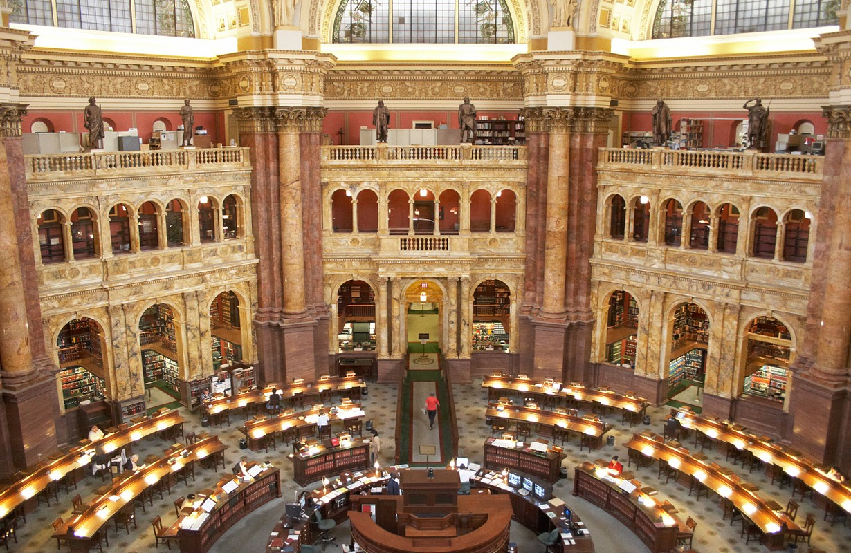 USA, Washington, DC. Reading room Scientific Library of Congress (Library of Jefferson)