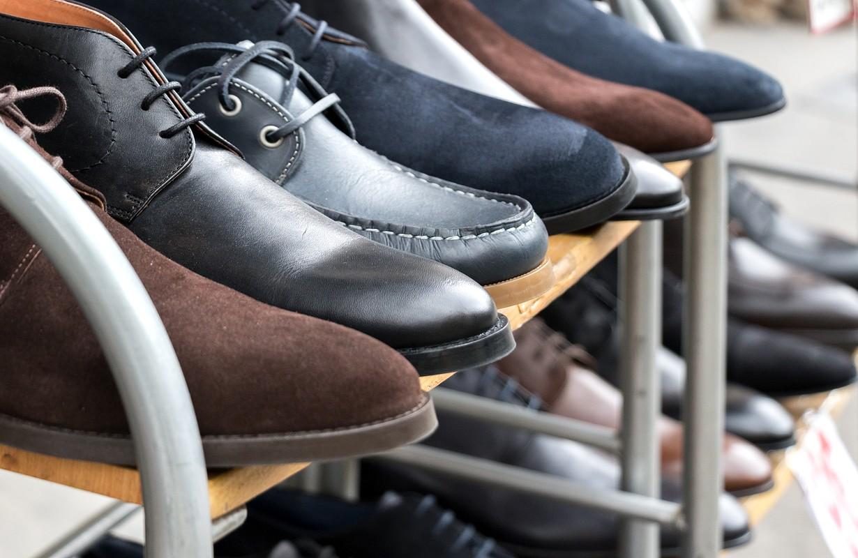 Shoes for men on shelves
