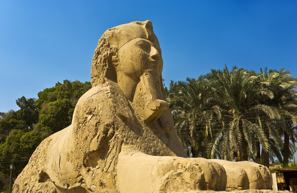 Egypt. Memphis - Mit Rahina open-air museum. The Alabaster Sphinx found outside the Temple of Ptah. The Pyramid Fields from Giza to Dahshur is on UNESCO World Heritage List