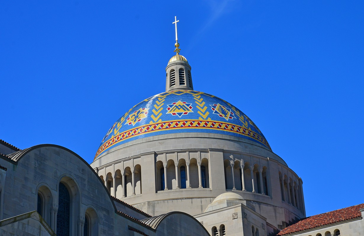 The resplendent dome of the Basilica of the National Shrine of the Immaculate Conception in Washington DC.