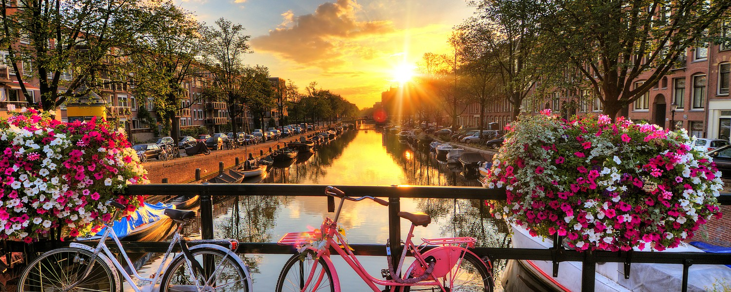 Beautiful sunrise over Amsterdam