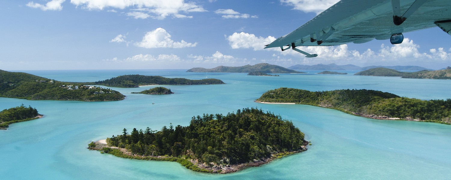 Flight over the Whitsunday Islands Australia