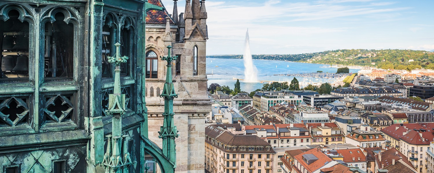 View of Geneva from the height of the Cathedral of Saint-Pierre, Switzerland