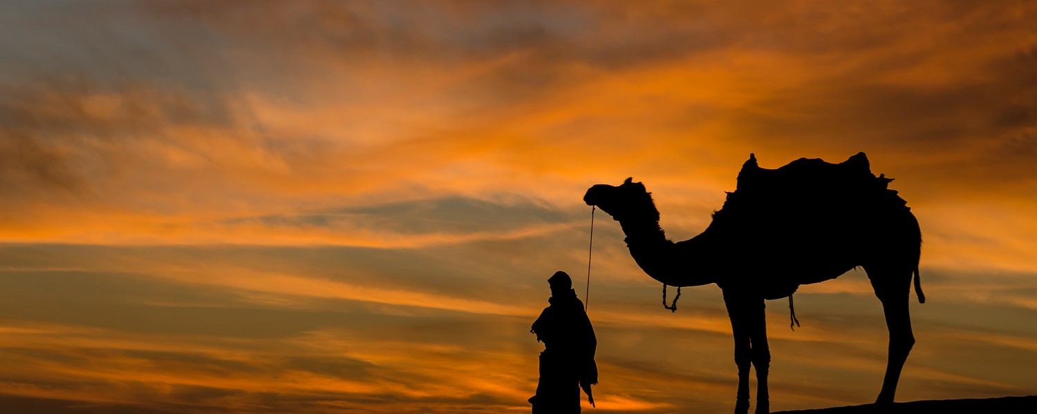 Rajasthan desert with dramatic sky with camel and man
