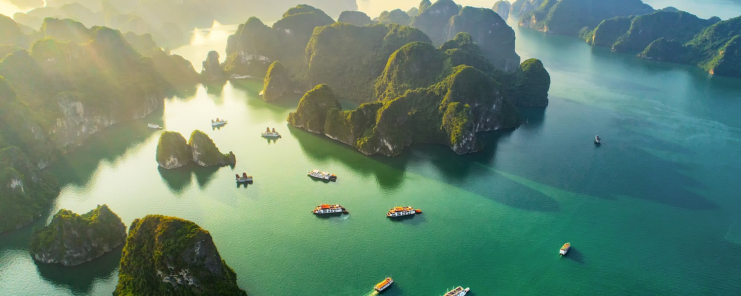 Aerial view floating fishing village and rock island, Halong Bay, Vietnam, Southeast Asia