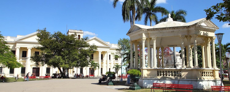 Main Square in Santa Clara, Cuba. Palm trees.