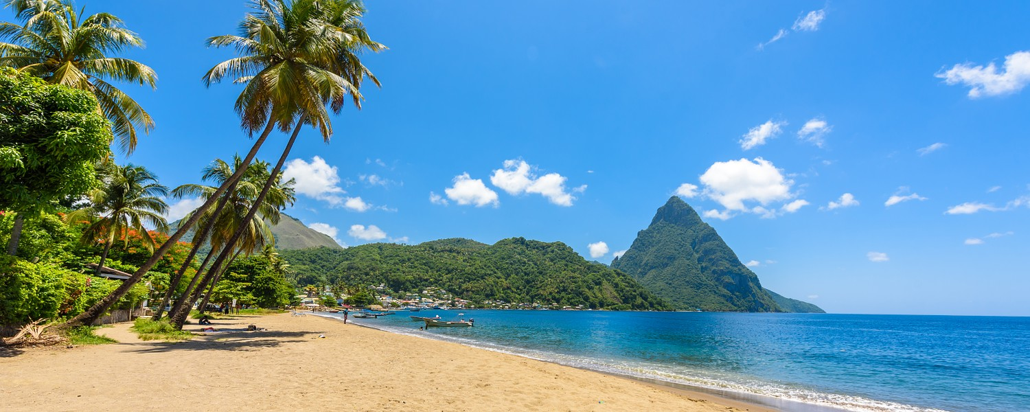 Paradise beach at Soufriere Bay with view to Piton at small town Soufriere in Saint Lucia, Tropical Caribbean Island