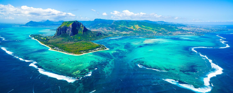 Aerial view of Mauritius island panorama