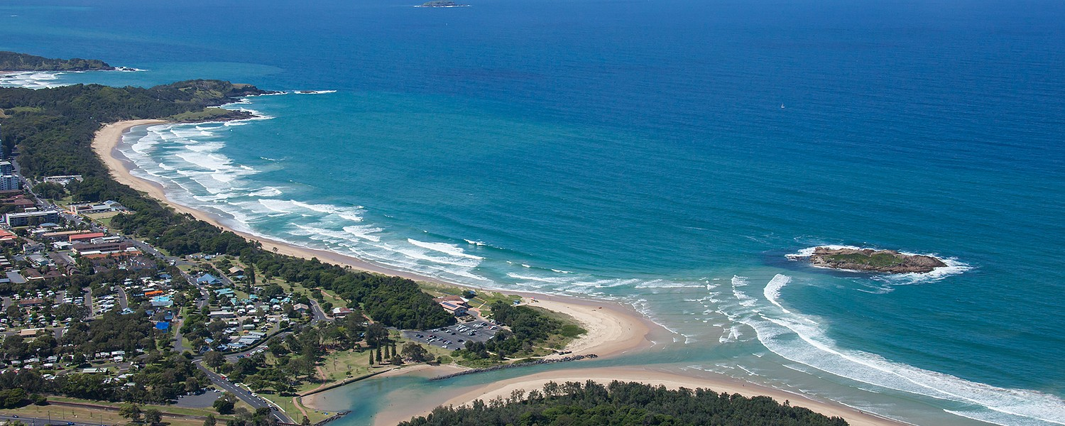 Coastal aerial of Coffs Creek and Coffs Harbour township