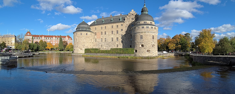 Orebro Castle in autumn sunny day, Sweden