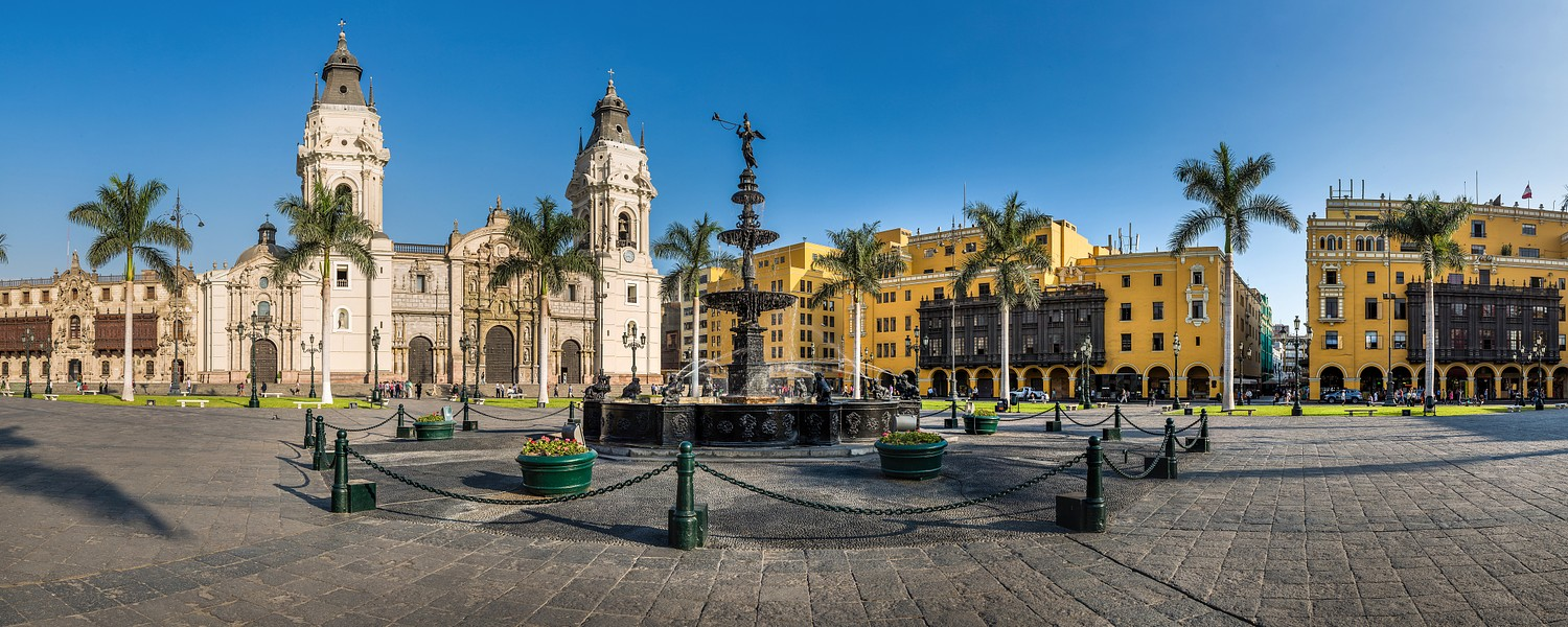 Panoramic view of Lima main square and cathedral church